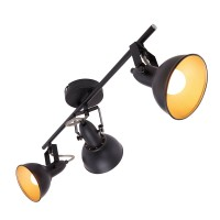 Spot gaismeklis melns ar zeltu, SOFT, 3x E14, max. 40W - 2049-035 - Briloner Prisma