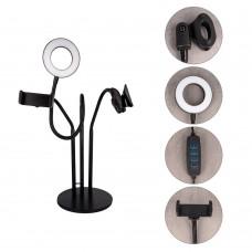 XO L02 tālruņa statīvs ar LED lampu un mikrofona turētāju