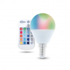RGB+WW LED spuldze E14, G45, 250lm, 5W