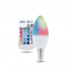 RGB+WW LED spuldze E14, C37, 250lm, 5W