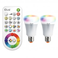 LED 2 x E27 A60 iDual RGB bulbs with a remote controller, 11W, 806Lm - JE0127082