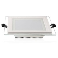 6W LED glass ceiling downlight panel with Samsung diodes, IP20, 600Lm, 3000K